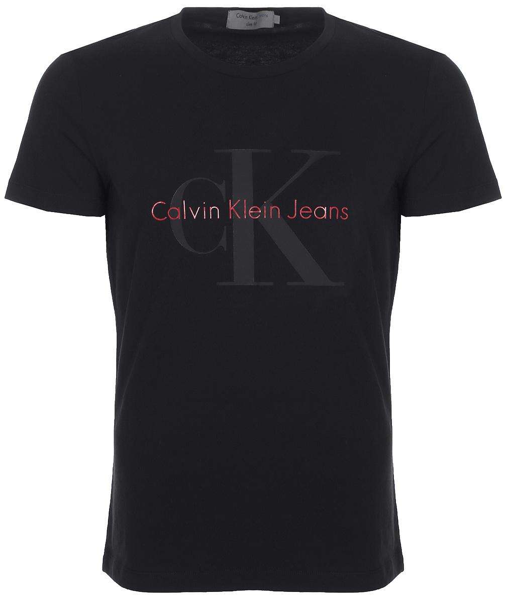 Футболка мужская Calvin Klein Jeans, цвет: черный. J30J306884_0990. Размер XXL (52/54) джемпер мужской calvin klein jeans цвет черный j30j306946 0990 размер xxl 52 54