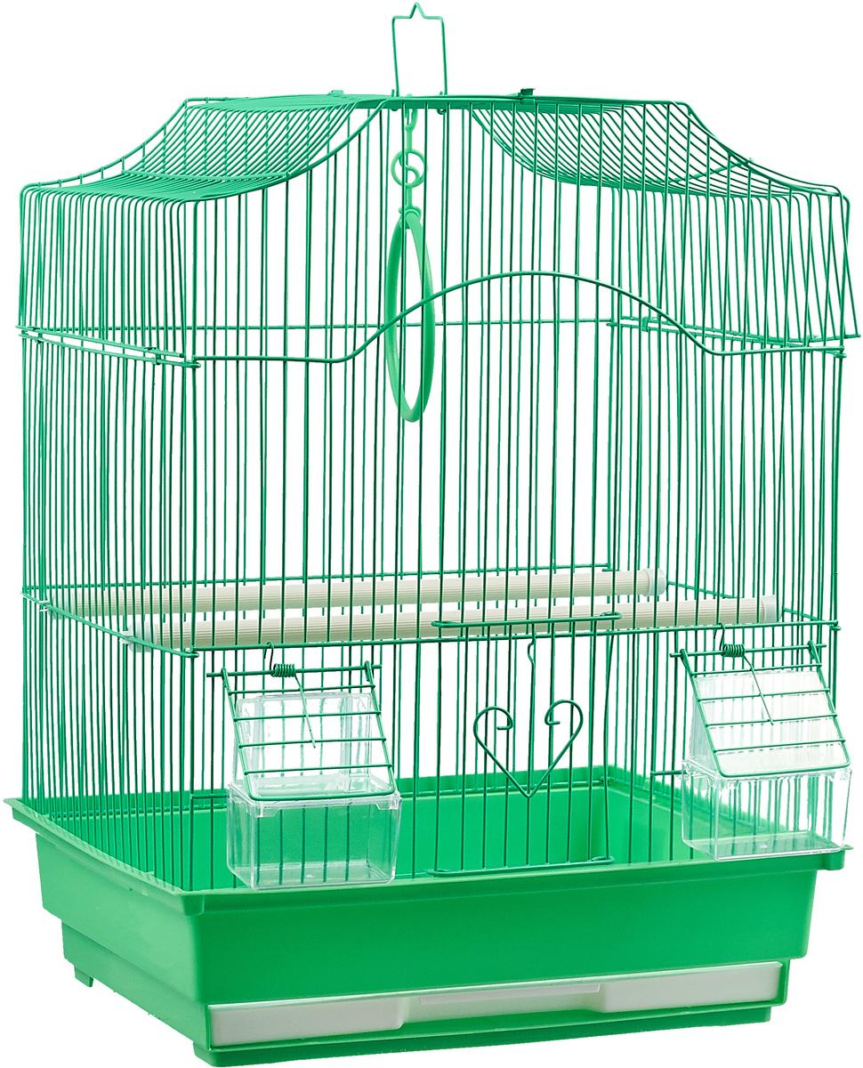 Клетка для птиц фигурная №1, укомплектованная, цвет: зеленый, 35 х 28 х 46 см стул складной bushido цвет синий 35 х 28 х 33 см
