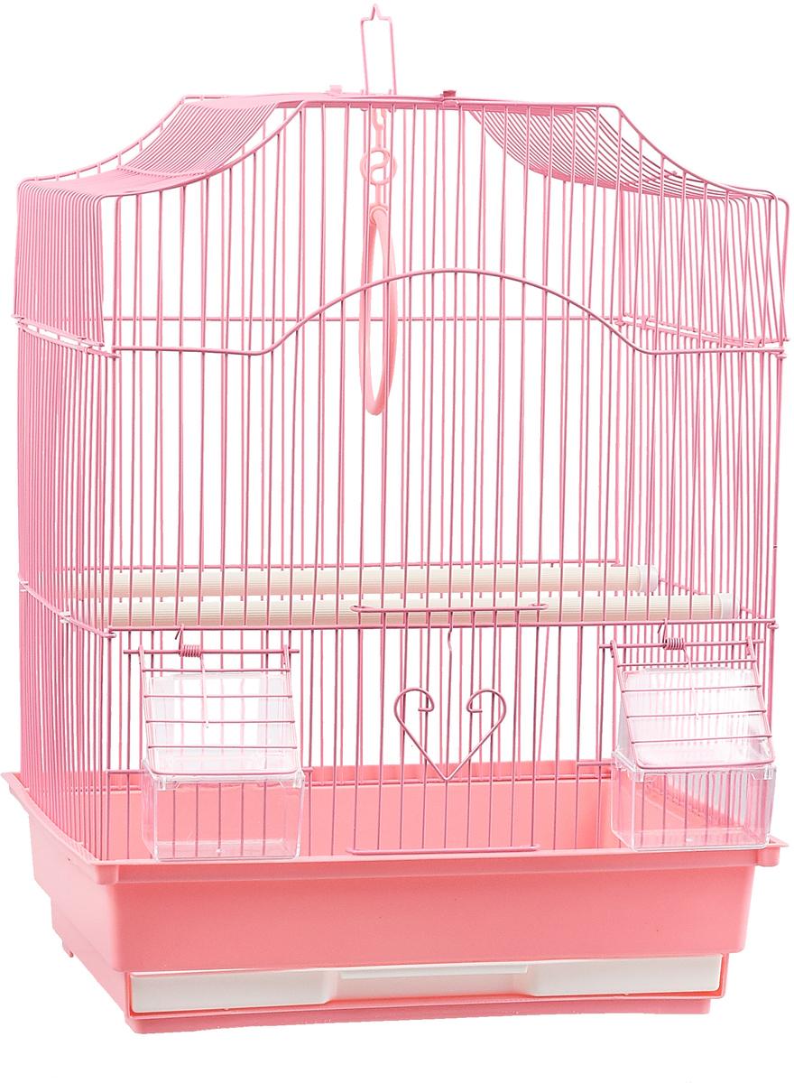 Клетка для птиц фигурная №1, укомплектованная, цвет: розовый, 35 х 28 х 46 см стул складной bushido цвет синий 35 х 28 х 33 см