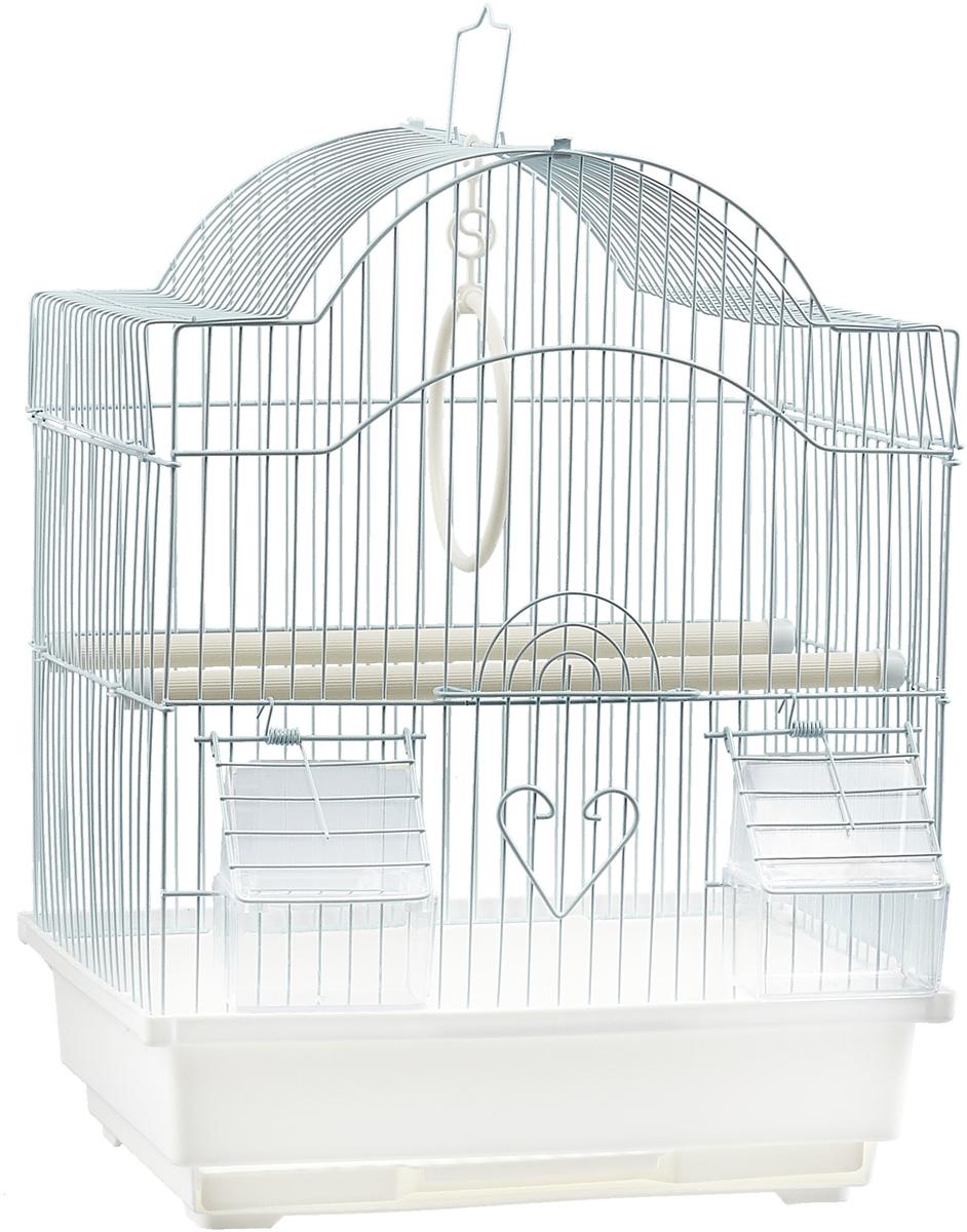 Клетка для птиц фигурная №1, укомплектованная, цвет: белый, 30 х 23 х 39 см