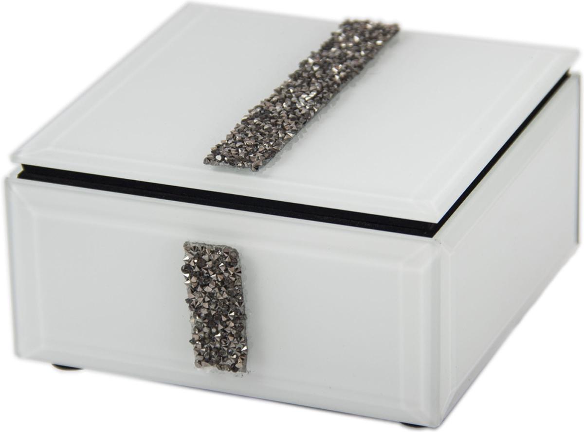 Шкатулка для украшений, цвет: белый, 12 х 12 х 6 см. 79205 шкатулка для ювелирных украшений moretto 18 х 13 х 5 см 139530