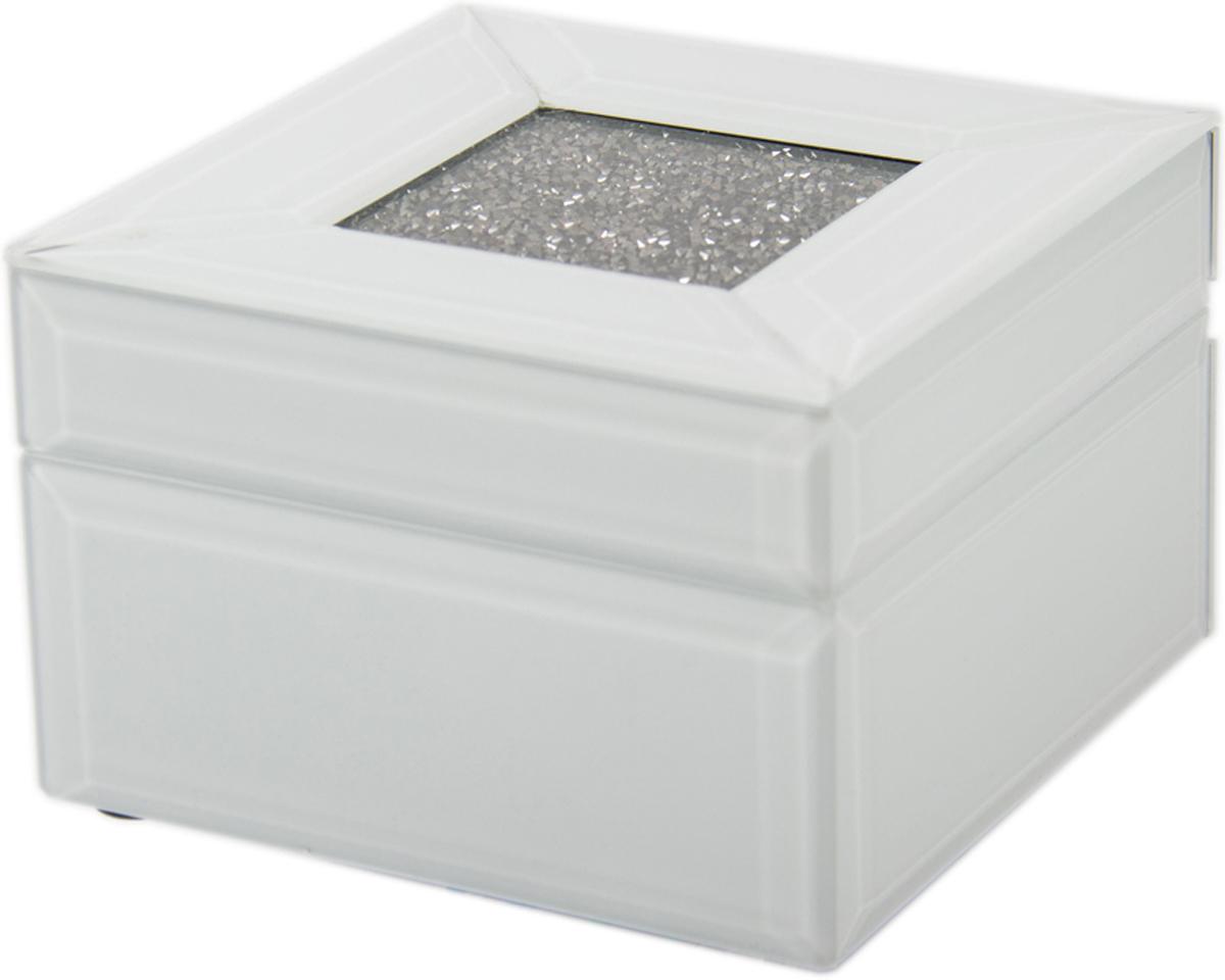 Шкатулка для украшений, цвет: белый, 13 х 13 х 8 см. 79207 шкатулка для ювелирных украшений win max 20 х 17 х 9 см
