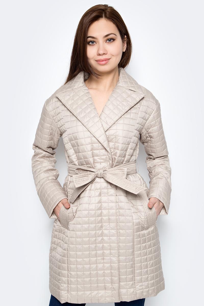 Пальто женское Sela, цвет: бежевый. Cep-126/1029-8162. Размер M (46)Cep-126/1029-8162