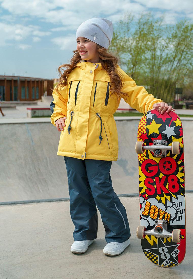 Куртка для девочки Oldos Active Киана, цвет: желтый, серый. 2A8JK28. Размер 140, 10 лет куртка для девочки oldos active одри цвет коралловый темно серый 2a8jk06 размер 140 10 лет