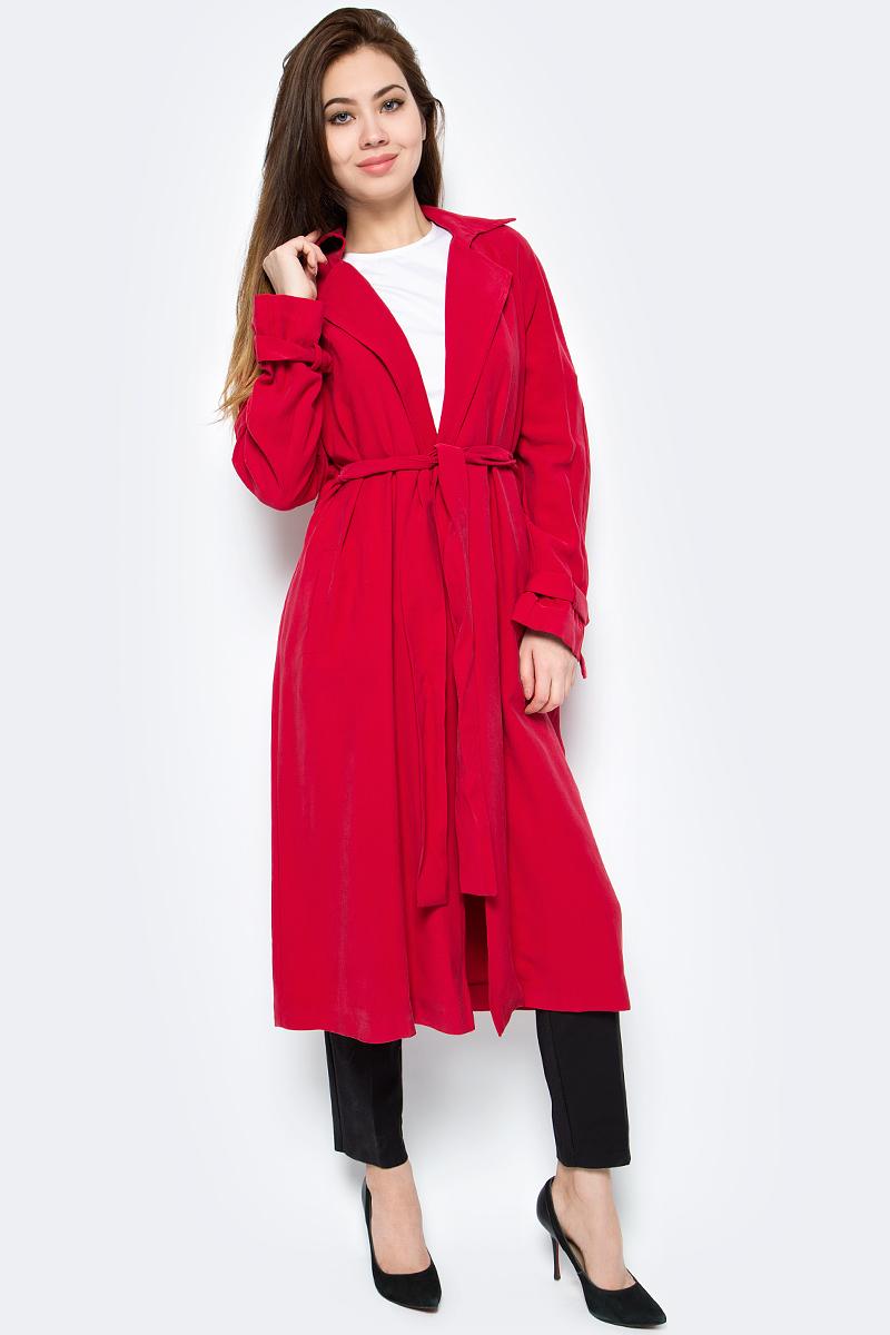 Пальто женское adL, цвет: красный. 17833766000_006. Размер S (42/44)17833766000_006Стильное удлиненное женское пальто adL выполнено из качественного материала. Модель прямого силуэта без застежки с поясом. Пальто дополнено V-образным отложным воротником с лацканами, двумя боковыми врезными карманами.
