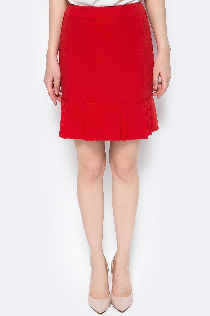 Юбка женская adL, цвет: красный. 12732331002_006. Размер S (42/44)12732331002_006Стильная юбка adL выполнена из высококачественного материала. Модель длины мини, низ дополнен воланом. Изделие застегивается сзади на скрытую застежку-молнию.
