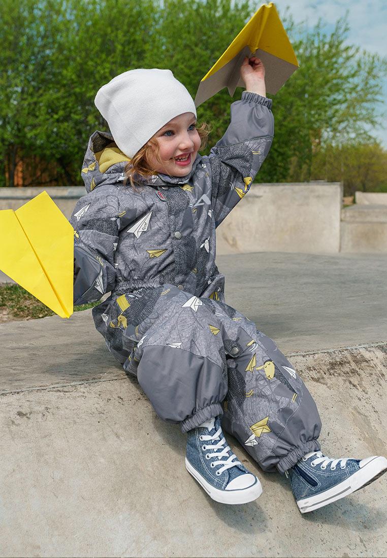 Комбинезон утепленный для девочки Oldos Active Моана, цвет: серый. 2A8OV01. Размер 92, 2 года oldos комбинезон трансформер роботы
