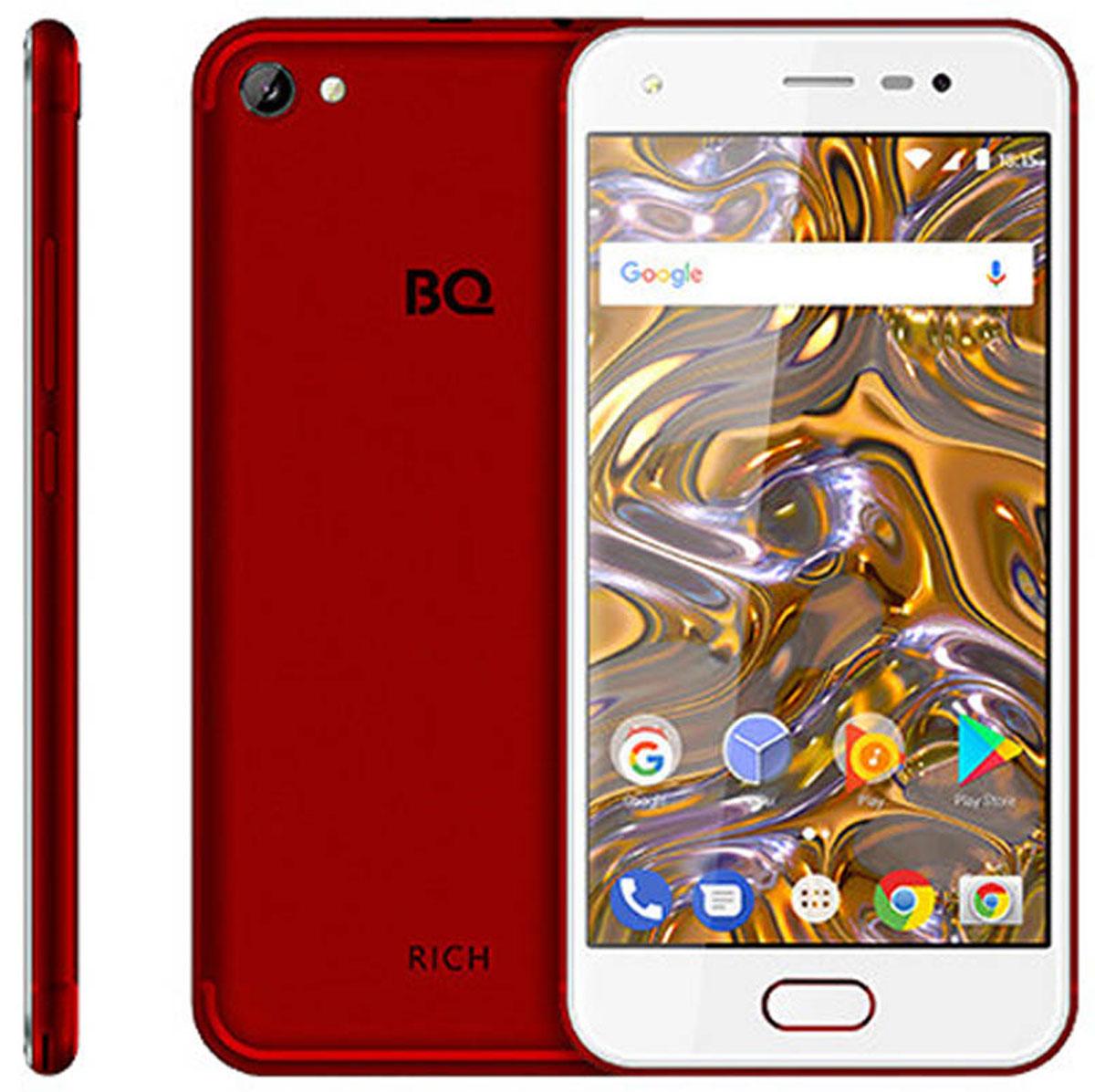 BQ 5012L Rich, Red85956647Акцент в смартфоне BQ 5012L Rich сделан на элегантный и эргономичный дизайн, дополненный функциональными техническими характеристиками. Для удобного и привычного использования смартфона на передней панели установлена кнопка Home. Бесперебойное функционирование современных программ и приложений осуществляется с помощью 4-ядерного процессора MTK6737 с тактовой частотой 1300 MHz. Фото- и видеовозможности обеспечиваются 2 камерами с разрешением 8 и 5 МП соответственно. Для комфортного интернет-серфинга на достаточной скорости, установлен модуль 4G.Телефон сертифицирован EAC и имеет русифицированный интерфейс меню и Руководство пользователя.