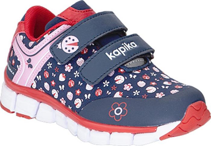 Кроссовки для девочки Kapika, цвет: темно-синий. 71200с-1. Размер 2371200с-1Кроссовки от Kapika выполнены из искусственной кожи и текстиля. Модель на ноге фиксируется при помощи двух ремешков на липучках. Подкладка из текстиля и стелька из натуральной кожи гарантируют комфорт при носке. Стелька дополнена супинатором, который отвечает за правильное формирование стопы. Наличие ЭВА в составе подошвы делает кроссовки легкими. Удобная колодка.