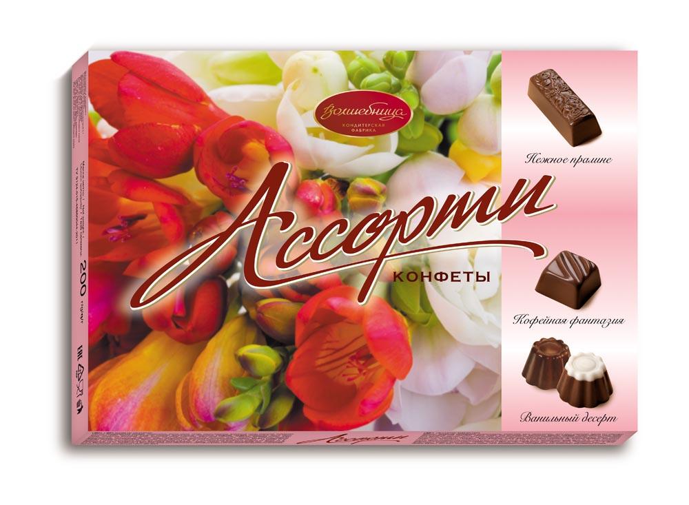 Волшебница С Праздником! Конфеты ассорти розовое, 200 г волшебница трюфельное конфеты шоколадное ассорти 200 г
