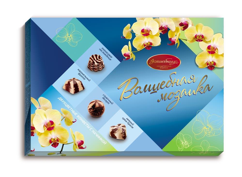 Волшебница С Праздником! Волшебная мозаика конфеты ассорти двухслойное, 200 г волшебница конфеты ассорти с цветами кремовые 200 г