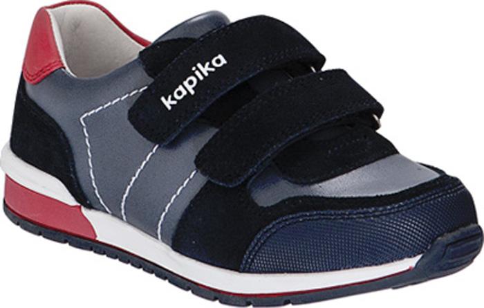 Кроссовки для мальчика Kapika, цвет: темно-синий. 22477к-1. Размер 3122477к-1Кроссовки от Kapika выполнены из натуральной кожи со вставками из искусственной кожи. Модель на ноге фиксируется при помощи двух ремешков на липучках. Мысок с прорезиненной защитой от стирания и намокания. Подкладка и стелька из натуральной кожи позволяют ногам дышать. Стелька дополнена супинатором, который отвечает за правильное формирование стопы. Жесткий задник хорошо фиксирует голеностоп детской ноги.