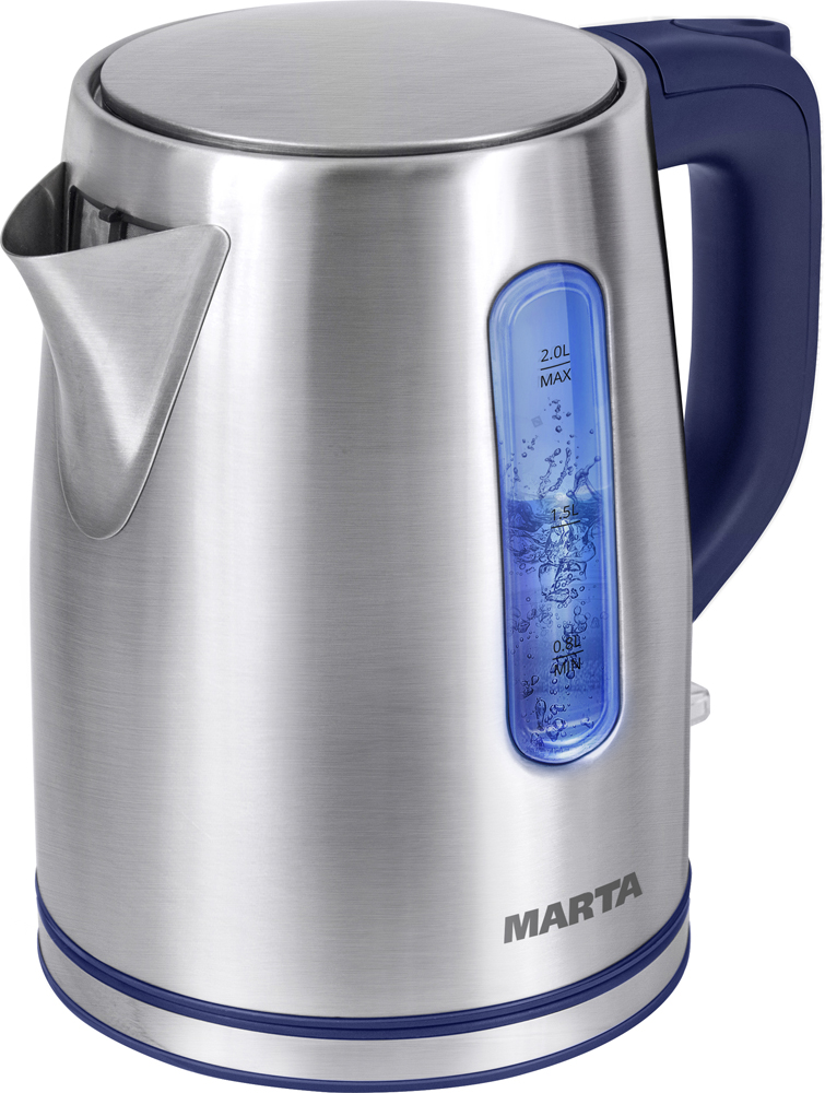 Marta MT-1093, Blue Sapphire чайник электрическийMT-1093Мощность-2200WОбъем-2 лкорпус-304 нерж.сталь,автоотключение при закипании/отсутствии воды, светодиодный индикатор работы