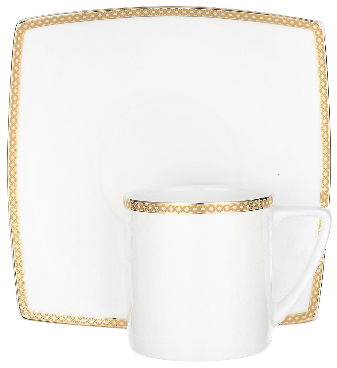 """Чай будет еще вкуснее, если пить его из изящной фарфоровой чашки, чья красота подчеркнута  блюдцем в том же стиле. Вы можете пользоваться ею дома или на работе, позволяя себе немного  расслабиться и освежить мысли. Чайная пара """"Galaxy Gold"""" – классический, всегда востребованный и желанный подарок.  Насладиться уединением за ароматным напитком – это маленькое счастье, доступное каждому."""