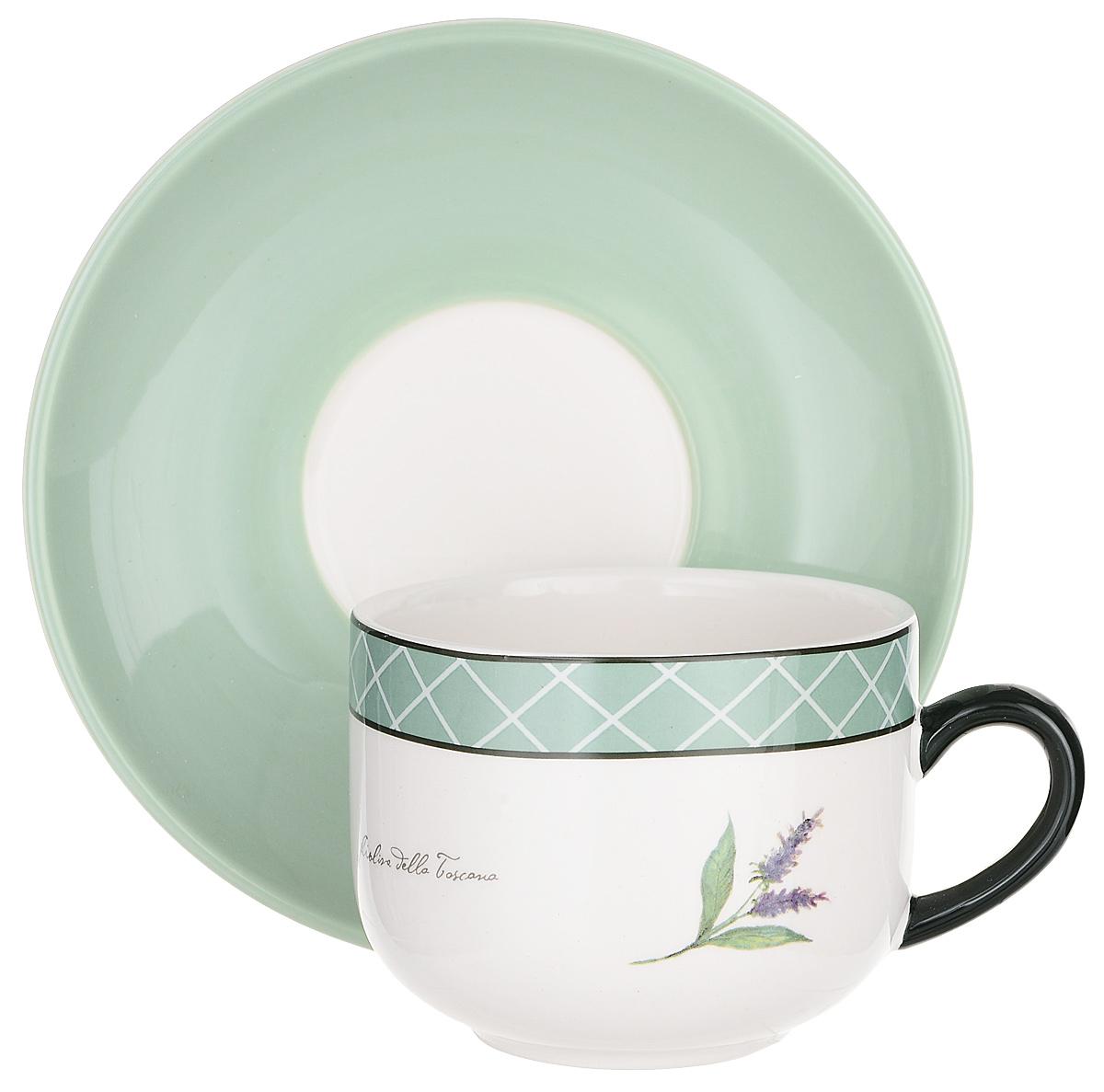 """Пить чай всегда хочется не торопясь и с удовольствием, особенно приятно, когда в руках  красивая посуда, которая помогает раскрыть все нотки вкуса настоящего напитка. Любому  поднимет настроение и окунет в мир наслаждения стильная чайная пара """"Италия""""."""