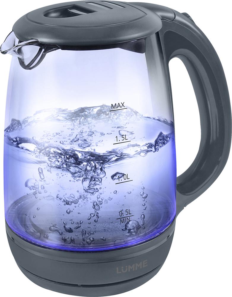 Lumme LU-134, Gray Pearl чайник электрическийLU-1342200W2 лТермостойкое стекло,внутренняя подсветка,Автоотключение при закипании/отсутствии воды/фильтр