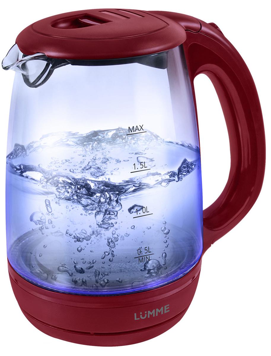 Lumme LU-134, Red Garnet чайник электрическийLU-1342200W2 лТермостойкое стекло,внутренняя подсветка,Автоотключение при закипании/отсутствии воды/фильтр