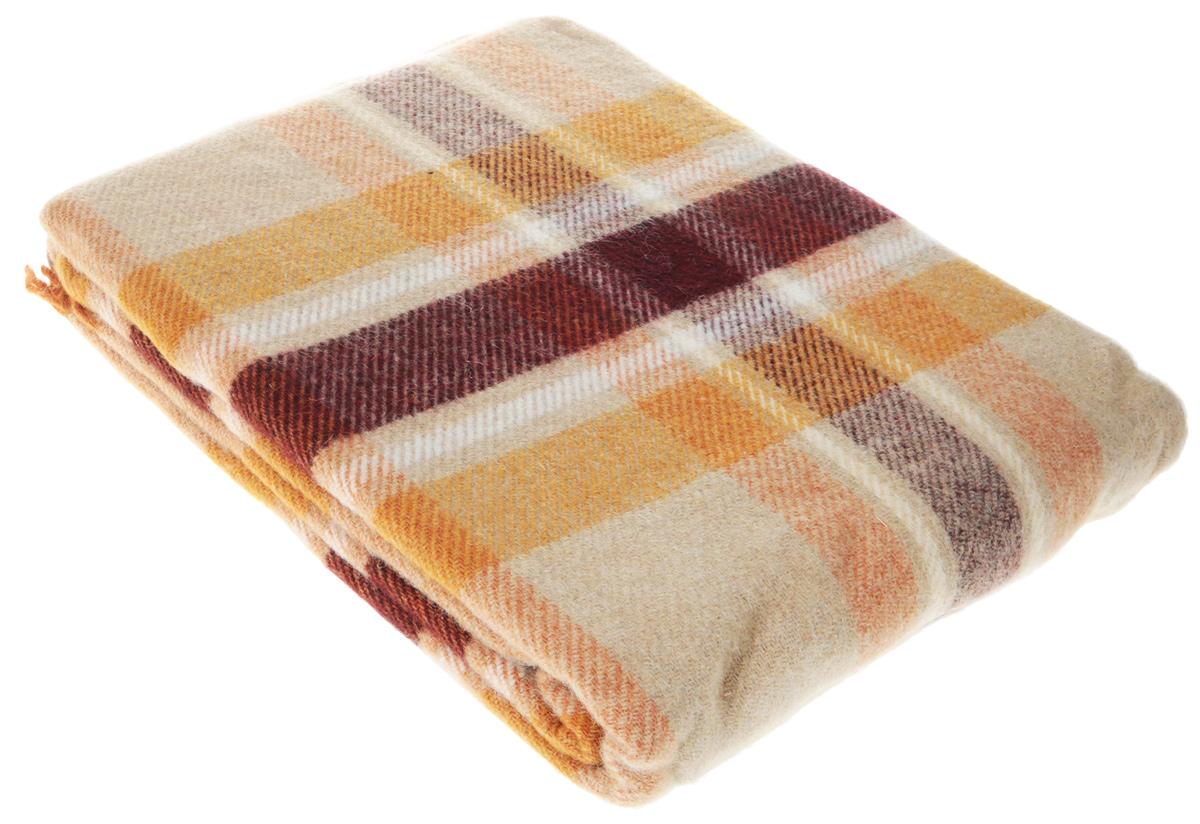 Плед Vladi Уют, цвет: бежевый, оранжевый, бордовый, белый, 170 х 210 см плед hongda уют 2x2 2m white 877312