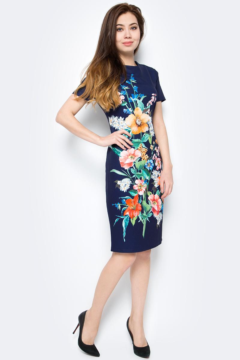 Платье женское adL, цвет: темно-синий. 12425680007_218. Размер XS (40/42)12425680007_218Стильное платье от adL выполнено из высококачественного полиэстера с добавлением эластана. Модель прилегающего кроя с короткими рукавами и круглым вырезом горловины. Платье застегивается на застежку-молнию на спинке. Модель декорирована ярким цветочным принтом.Данная модель прекрасно сможет подчеркнуть ваш индивидуальный стиль.