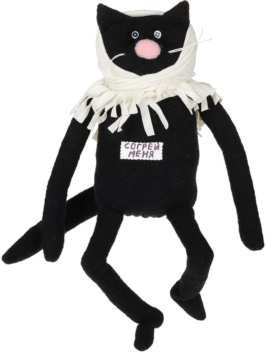 Мягкая игрушка Бюро находок Кот. Согрей меня, цвет: черный табличка на дверь бюро находок главный режиссер цвет коричневый