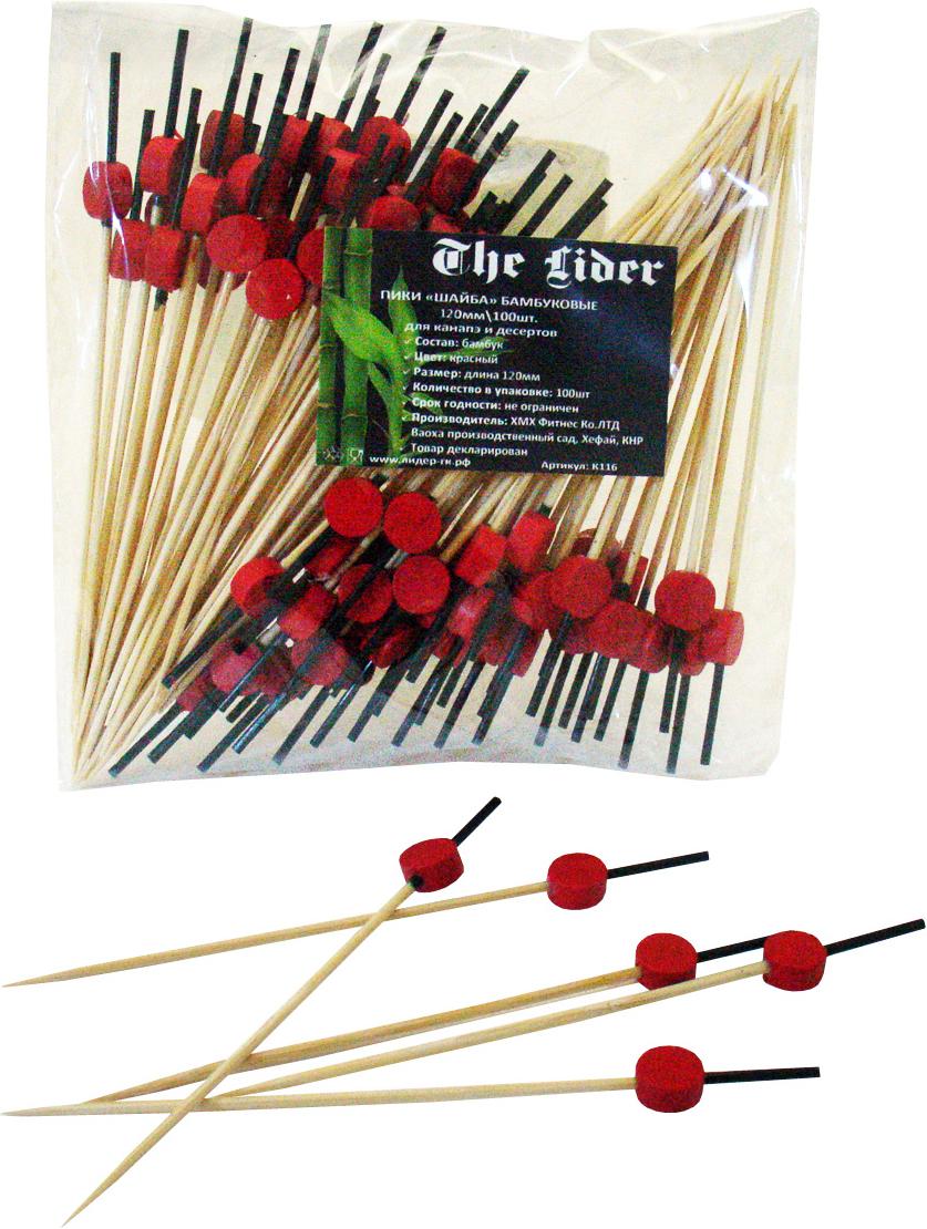 Пика для канапе и закусок Шайба, цвет: красный, 12 см, 100 штПОС33091Барное украшение, для канапе и закусок.Длина: 12 см.
