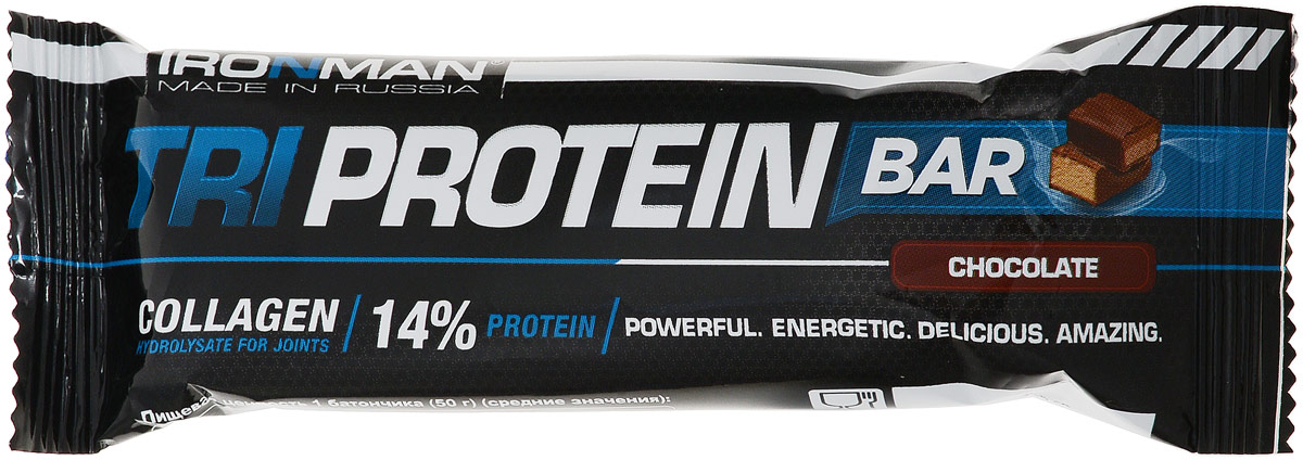 Батончик Ironman Tri Protein Bar, шоколад, темная глазурь, 50 г4650069822486Батончик Ironman Tri Protein Bar - батончик на основе комплекса трех протеинов с добавлением полезных пищевых волокон. БатончикTri Protein Barсо вкусом шоколада – это полезный и питательный батончик, в котором 14% пустых углеводов замещено комплексным белком, которого так не хватает современному человеку. Кроме того в батончик добавлено 6% пищевых волокон, незаменимых для нормального пищеварения. Обогащен десятью основными витаминами. Глюкозный сироп, глазурь кондитерская (лауриновый заменитель какао-масла, сахар, какао-порошок, эмульгатор лецитин, ароматизатор), сахар, мальтодекстрин, кокосовая стружка, изолят соевого белка, какао-порошок,вода питьевая, концентрат молочного белка, изолят горохового белка, концентрат сывороточного белка, агент влагоудерживающий глицерин, пшеничные волокна.Как повысить эффективность тренировок с помощью спортивного питания? Статья OZON Гид