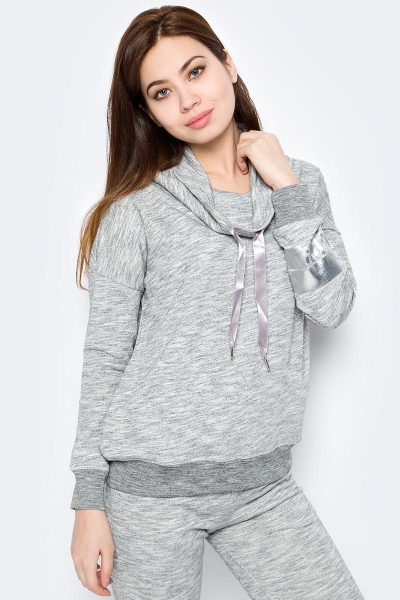 Джемпер женский Sela, цвет: серый. St-113/945-8192. Размер S (44)St-113/945-8192