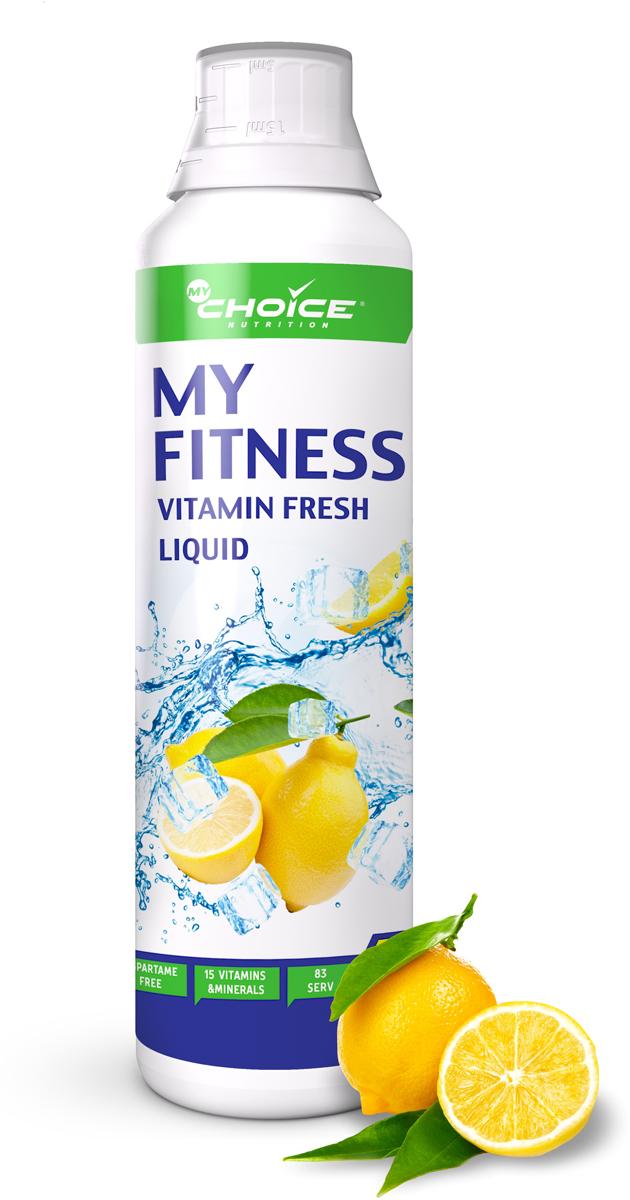 Напиток витаминно-минеральный MyChoice Nutrition  My Fitness Vitamin Fresh Liquid , лимон, 500 мл - Витамины, минералы, комплексы