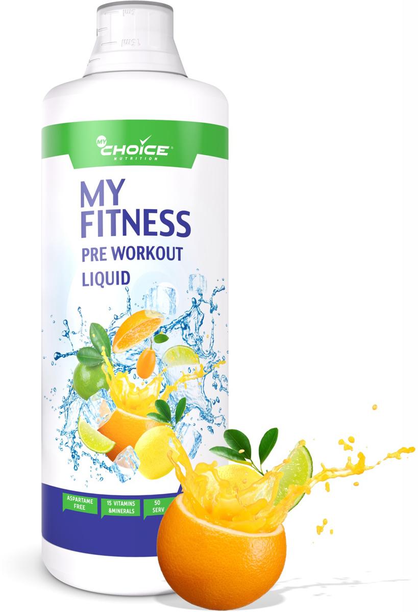 Предтренировочный комплекс MyChoice Nutrition My Fitness PRE Workout Liquid, тропический взрыв, 1000 мл витамины mychoice nutrition vitamin c апельсин 60 шт