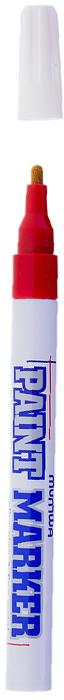 MunHwa Маркер-краска Slim цвет красный207862Краска великолепно пишет по любому типу поверхности: бумаге, дереву, пластику, металлу, натуральному и искусственному камню, стеклу. Маркер-краска морозоустойчива, не выгорает на солнце, может писать по горячей (до 130 градусов) или загрязненной, в том числе и маслами, поверхности. Благодаря дозированной подаче краски при помощи клапанного пишущего узла исключаются растекания, неровности линии и преждевременное пересыхание. Богатая цветовая палитра краски на нитро-основе, длительный срок годности - 5 лет.