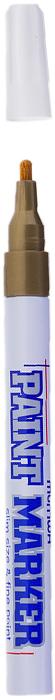 MunHwa Маркер-краска Slim цвет золотистый207866Краска великолепно пишет по любому типу поверхности: бумаге, дереву, пластику, металлу, натуральному и искусственному камню, стеклу. Маркер-краска морозоустойчива, не выгорает на солнце, может писать по горячей (до 130 градусов) или загрязненной, в том числе и маслами, поверхности. Благодаря дозированной подаче краски при помощи клапанного пишущего узла исключаются растекания, неровности линии и преждевременное пересыхание. Богатая цветовая палитра краски на нитро-основе, длительный срок годности - 5 лет.