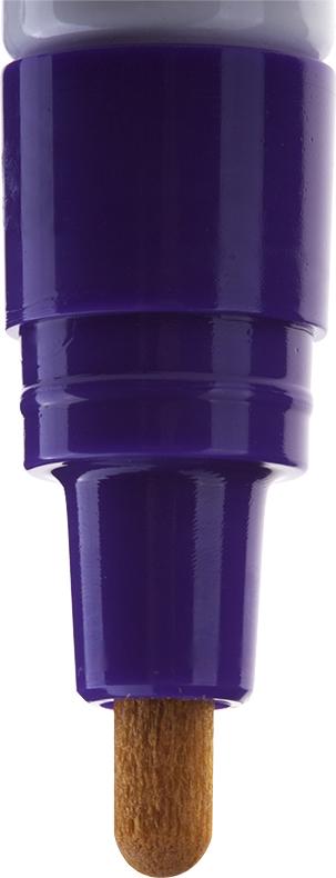 Краска великолепно пишет по любому типу поверхности: бумаге, дереву, пластику, металлу, натуральному и искусственному камню, стеклу. Маркер-краска морозоустойчива, не выгорает на солнце, может писать по горячей (до 130 градусов) или загрязненной, в том числе и маслами, поверхности. Благодаря дозированной подаче краски при помощи клапанного пишущего узла исключаются растекания, неровности линии и преждевременное пересыхание. Богатая цветовая палитра краски на нитро- основе, длительный срок годности - 5 лет.