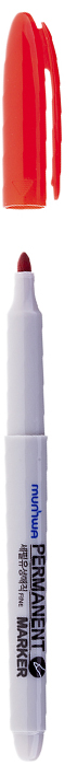 MunHwa Маркер перманентный цвет красный235084Перманентный маркер для письма по бумаге, металлу, пластику, керамике, коже и другим поверхностям. Яркий насыщенный цвет чернил. Время высыхания 30-40 секунд. Рабочая температура от -15 до 50 градусов/