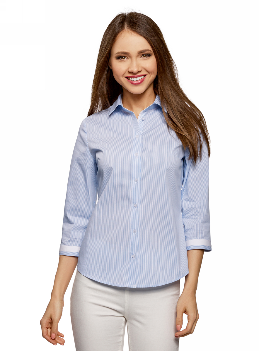 Блузка женская oodji Ultra, цвет: белый, голубой. 13K03005-1/46440/1070O. Размер 36 (42-170) oodji 11400432 1 36218 3329c