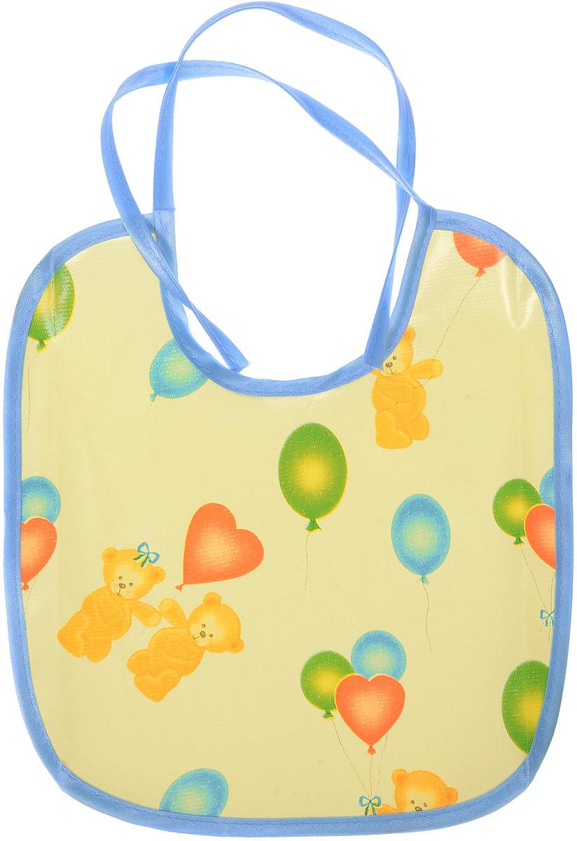 Колорит Нагрудник Мишки с шариками цвет желтый голубой 20 х 22 см