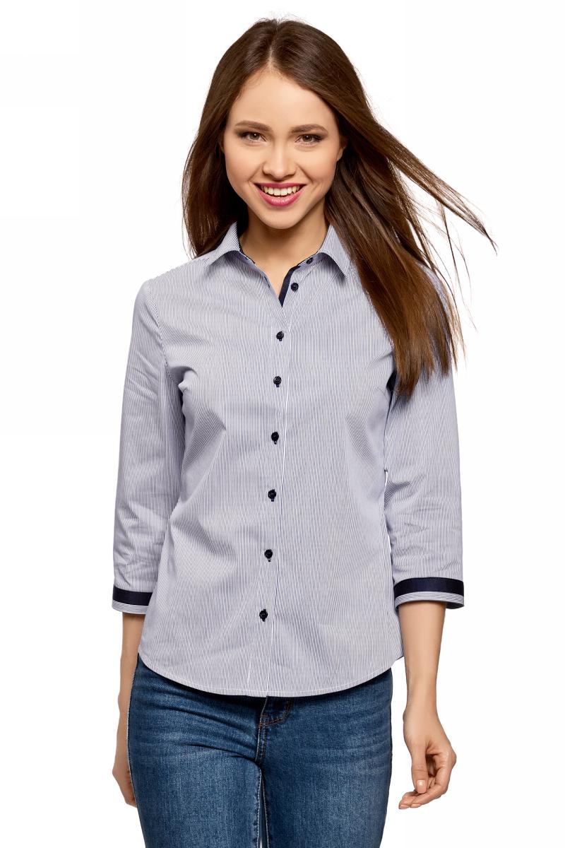 цены на Блузка женская oodji Ultra, цвет: белый, темно-синий. 13K03005-1/46440/1079O. Размер 42 (48-170) в интернет-магазинах