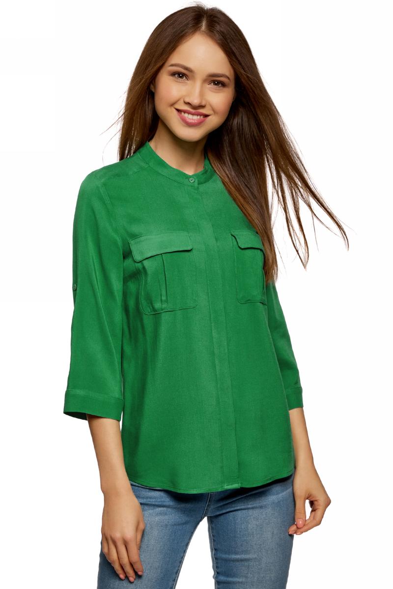 Блузка женская oodji Ultra, цвет: изумрудный. 11403225-3B/26346/6D00N. Размер 34 (40-170) футболка женская oodji ultra цвет изумрудный 14208001 19768 6d00n размер xs 42
