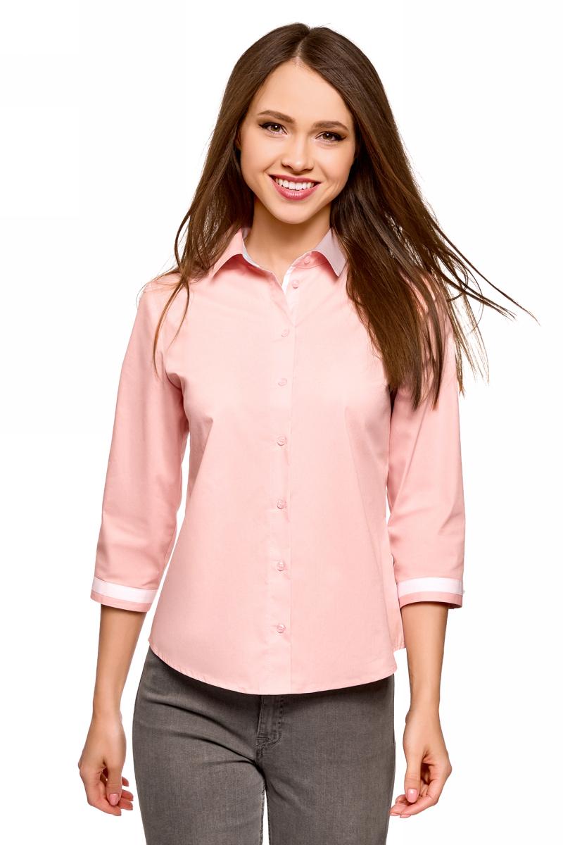 Купить Блузка женская oodji Ultra, цвет: светло-розовый. 13K03005B/26357/4000B. Размер 34 (40-170)