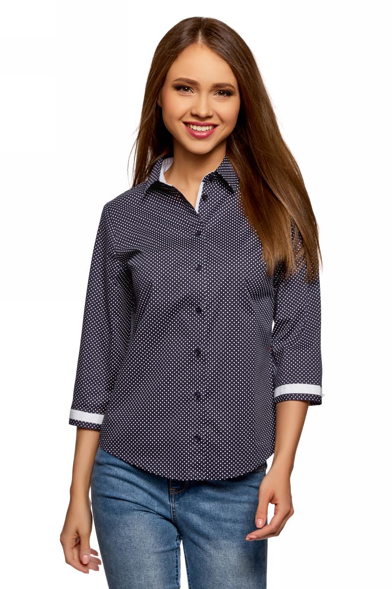 Купить Блузка женская oodji Ultra, цвет: темно-синий, белый. 13K03005B/26357/7910D. Размер 34 (40-170)