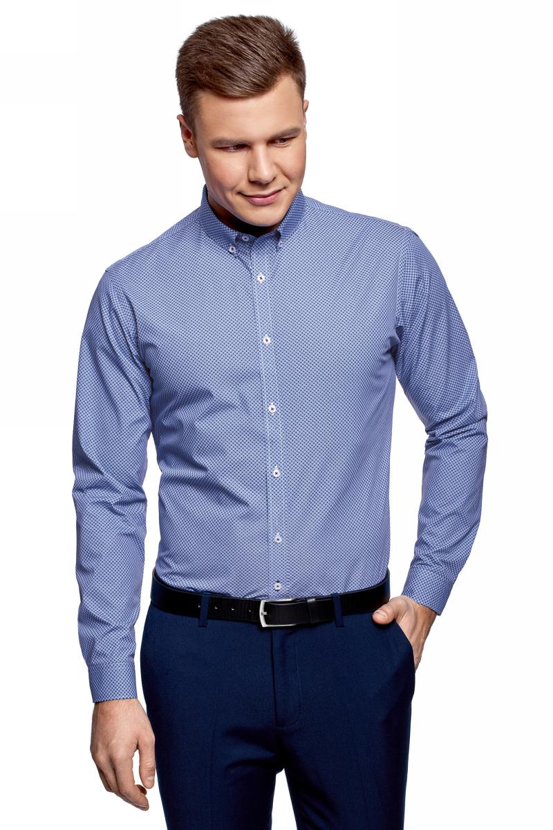 Рубашка мужская oodji Lab, цвет: белый, синий. 3L110314M/19370N/1075G. Размер 39 (46-182)