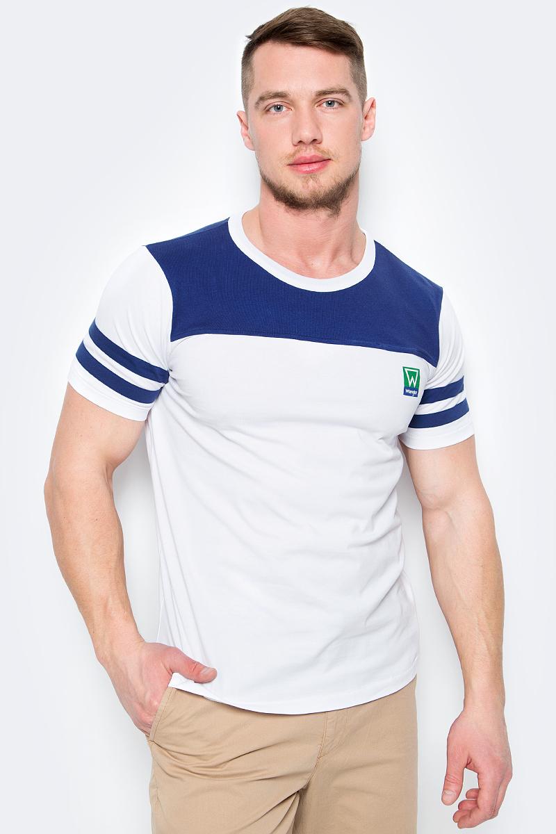 Футболка мужская Wrangler, цвет: белый, синий. W7B31GNJY. Размер XXL (54)