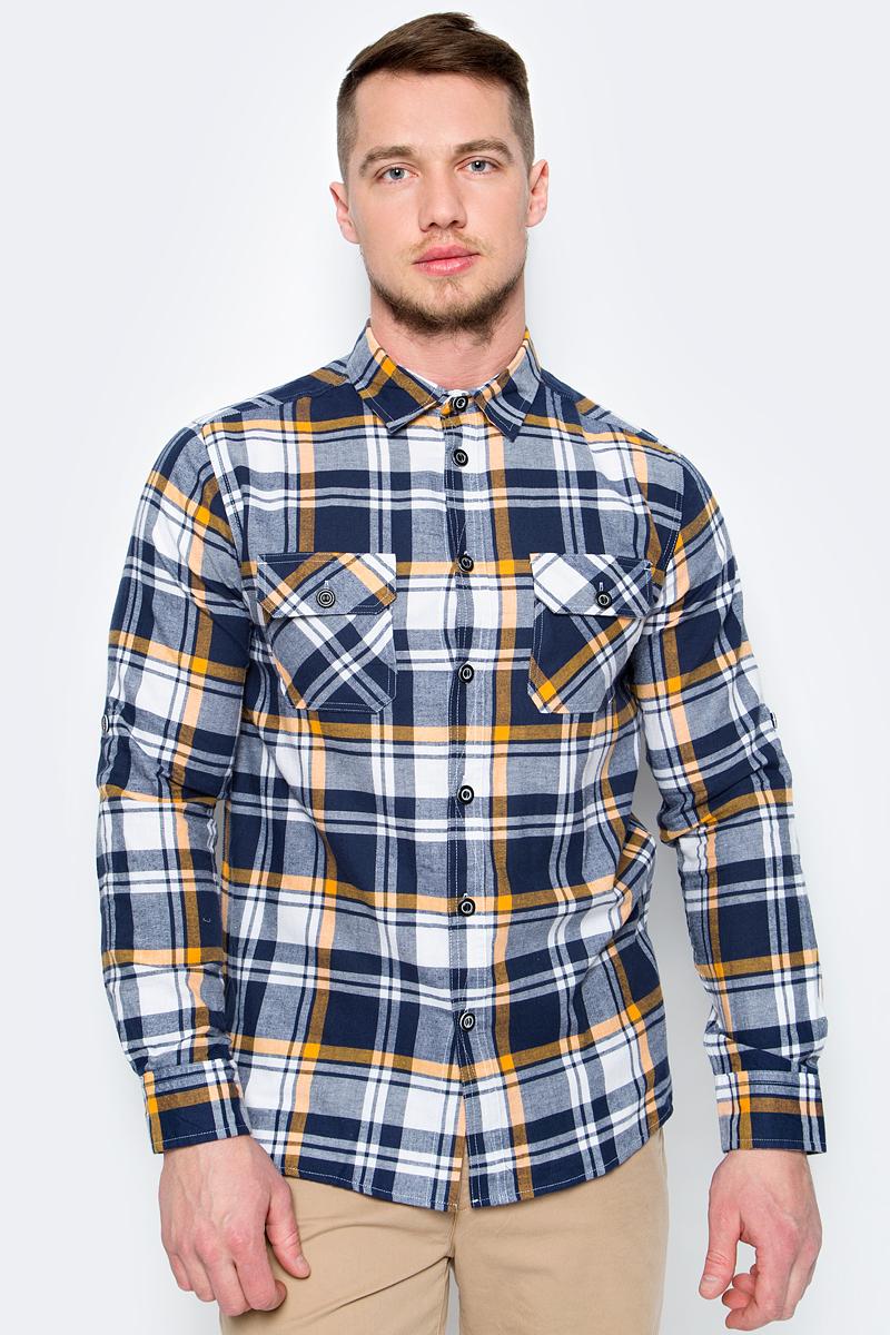 Рубашка мужская Sela, цвет: темно-синий. H-212/779-8111. Размер 43 (52) рубашка мужская sela цвет молочный h 212 745 7121 размер 41 42 48 50
