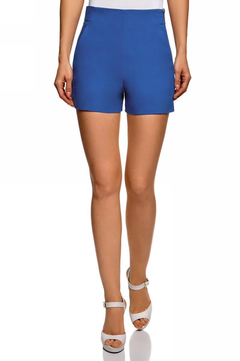 Шорты женские oodji Ultra, цвет: синий. 11800030-1B/35589/7500N. Размер 40 (46-170)