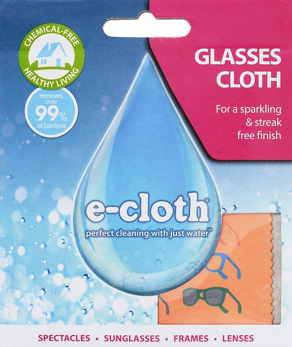 Салфетка для очков E-cloth, цвет: оранжевый, 19 х 19 см