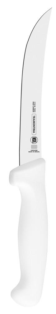 Нож для очистки костей Tramontina Proffecional Master, с гибким лезвием, длина лезвия 15 см24604/086-TRНожи Tramontina Professional Master подразумевают очень интенсивную ежедневную нагрузку профессионального применения, поэтому имеют высокий запас прочности.Долговечный и обладающий отличной способностью сохранять заточку клинок с полипропиленовой рукояткой, с встроенной антибактериальной защитой, которая не позволяет развиваться грибку и бактериям.Ручка и шейка каждого ножа разработана с учетом формы руки и вида выполняемых работ, что обеспечивает максимально комфортное нарезание продуктов, разделку мяса или рыбы.Удобный захват позволяет избежать скольжения руки.Защита Microban ® не наноситься сверху, она добавляется непосредственно в состав полипропилена, из которого изготавливаются рукоятки, поэтому действие антимикробного компонента продолжается так же долго, как и жизнь ножа, она не смывается моющими средствами и не пропадает после мытья в посудомоечной машине. Рукоятка с шероховатым напылением для предотвращения скольжения ножа во время использования.V-образная форма клинка гарантирует легкую и идеально точную нарезку.Процесс производства ножей Professional Master состоит из 37 этапов:- Заготовка из нержавеющей стали DIN1.4110 - Ковка в штампе и формирование шейки ножа- Закаливание в специальной печи (примерно + 1.060°С) - Охлаждение системой вентиляции до +350°С- Промораживание (-80°С) на 30 минут- Нагревание газом (+250°С) (получена твердость 56-58 единиц по шкале Роквелла)- Формирование клинка (конусное)- Поликарбонат в горячем виде наливается на ручку, что гарантирует отсутствие зазоров между ручкой и клинком- Отделка рукоятки и шейки ножа- Финальная заточка лезвия- Лазерная штамповка товарного знака TRAMONTINAМатериал лезвия: высокоуглеродистая сталь DIN 1.4110 с добавлением молибденаМатериал рукоятки: полипропилен c противомикробной защитой Microban ®Можно мыть в посудомоечной машине: даСтрана производства: Бразилия