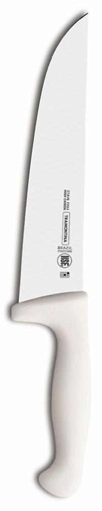 Ножи Tramontina Professional Master подразумевают очень интенсивную ежедневную нагрузку профессионального применения, поэтому имеют высокий запас прочности.Долговечный и обладающий отличной способностью сохранять заточку клинок с полипропиленовой рукояткой, с встроенной антибактериальной защитой, которая не позволяет развиваться грибку и бактериям.Ручка и шейка каждого ножа разработана с учетом формы руки и вида выполняемых работ, что обеспечивает максимально комфортное нарезание продуктов, разделку мяса или рыбы.Удобный захват позволяет избежать скольжения руки.Защита Microban ® не наноситься сверху, она добавляется непосредственно в состав полипропилена, из которого изготавливаются рукоятки, поэтому действие антимикробного компонента продолжается так же долго, как и жизнь ножа, она не смывается моющими средствами и не пропадает после мытья в посудомоечной машине. Рукоятка с шероховатым напылением для предотвращения скольжения ножа во время использования.V-образная форма клинка гарантирует легкую и идеально точную нарезку.Процесс производства ножей Professional Master состоит из 37 этапов:- Заготовка из нержавеющей стали DIN1.4110 - Ковка в штампе и формирование шейки ножа- Закаливание в специальной печи (примерно + 1.060°С) - Охлаждение системой вентиляции до +350°С- Промораживание (-80°С) на 30 минут- Нагревание газом (+250°С) (получена твердость 56-58 единиц по шкале Роквелла)- Формирование клинка (конусное)- Поликарбонат в горячем виде наливается на ручку, что гарантирует отсутствие зазоров между ручкой и клинком- Отделка рукоятки и шейки ножа- Финальная заточка лезвия- Лазерная штамповка товарного знака TRAMONTINAМатериал лезвия: высокоуглеродистая сталь DIN 1.4110 с добавлением молибденаМатериал рукоятки: полипропилен c противомикробной защитой Microban ®Можно мыть в посудомоечной машине: даСтрана производства: Бразилия