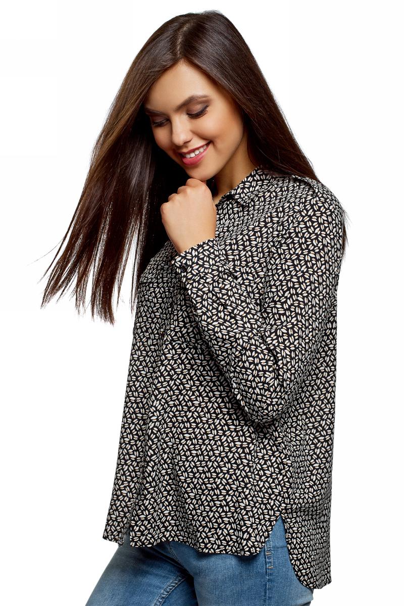 Блузка женская oodji Ultra, цвет: черный, бежевый. 11411127B/26346/2933G. Размер 44 (50-170)