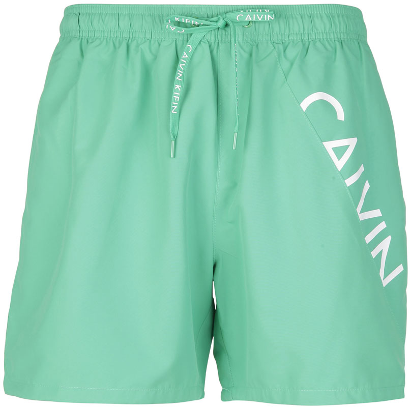 Шорты для плавания мужские Calvin Klein Underwear, цвет: ментоловый. KM0KM00168_312. Размер L (52)KM0KM00168_312Шорты для плавания от Calvin Klein выполнены из 100% полиэстера. Материал быстро сохнет. Модель с эластичной резинкой на талии и регулируемым шнурком.