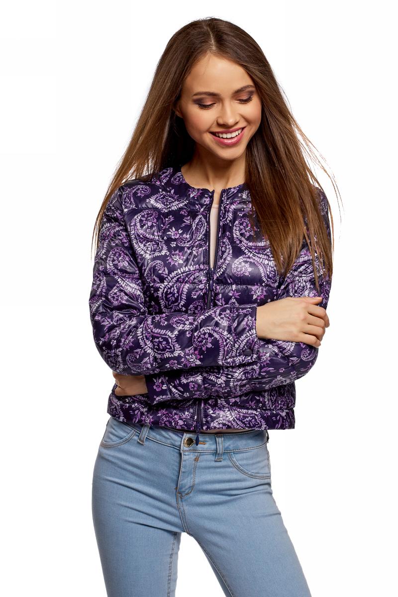 Купить Куртка женская oodji Ultra, цвет: темно-синий, фиолетовый. 10203072B/42257/7983E. Размер 36 (42-170)