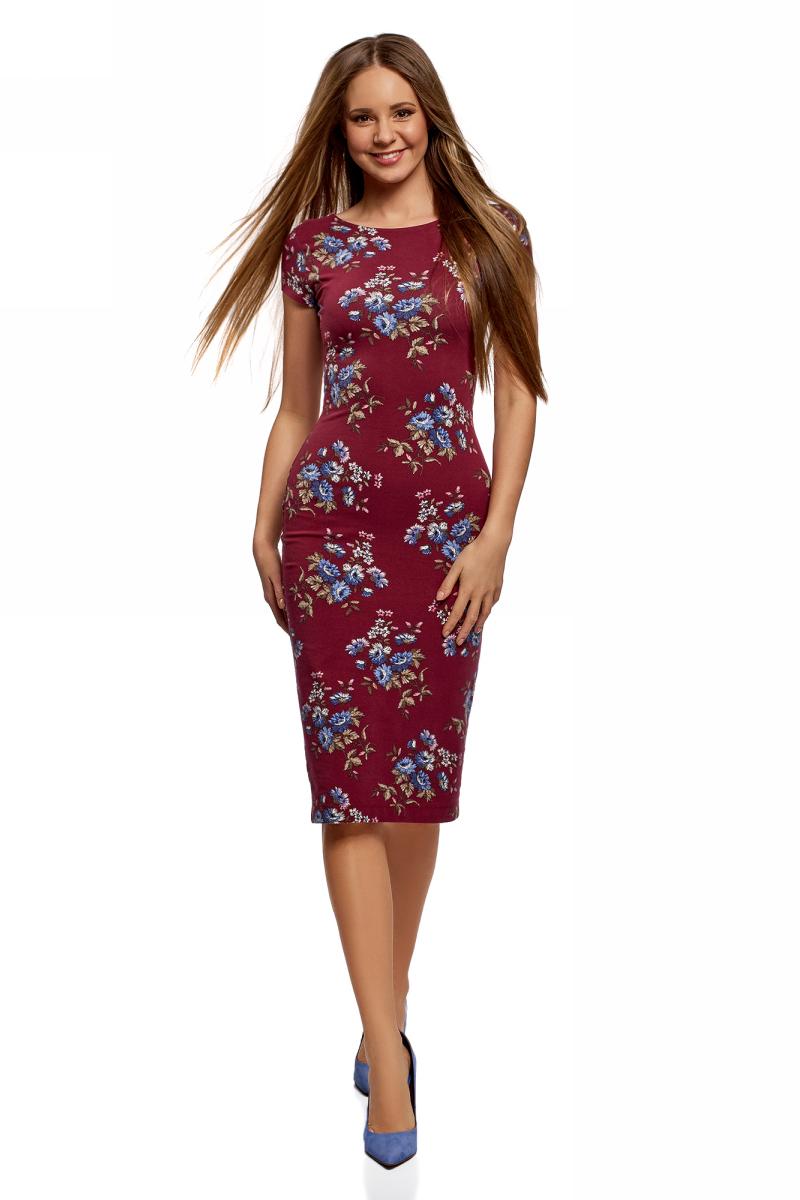 Платье oodji Collection, цвет: ягодный, синий. 24001104-5/47420/4C75F. Размер L (48)24001104-5/47420/4C75FСтильное платье oodji, выполненное из высококачественных материалов, отлично дополнит ваш гардероб. Модель с круглым вырезом горловины и короткими рукавами оформлена принтом.